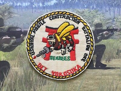 Patch - US Naval Mobile Construction Battalion ONE NMCB-4 , SEABEES , ONE NMCB-4