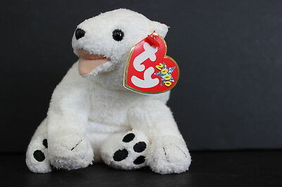 tY 2000 Beanie Baby Aurora the White POLAR BEAR Stuffed Animal Plush Toy 4.25""