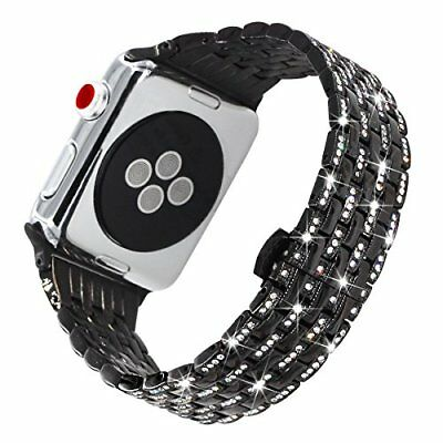 Stainless Steel Diamond Band 38mm Strap for Apple Watch Series 3 with Case Black