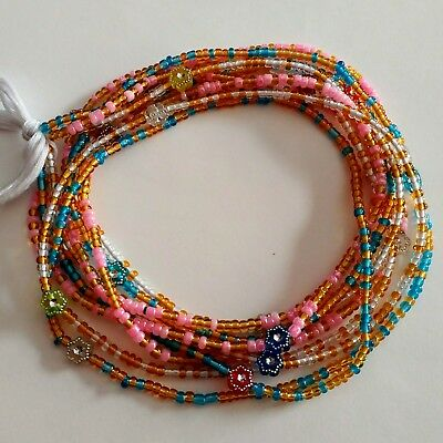 3 Strands African Waist Belly Beads, Ghana, Gold Pink Blue Clear