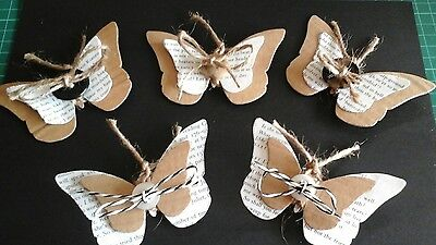 Handmade shabby chic / vintage style  die cut butterfly card toppers,  twine.