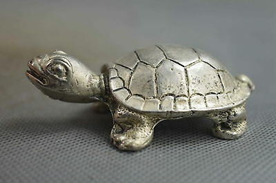 Collectable Handmade Miao Silver Carving Longevity Tortoise Royal Unique Statue