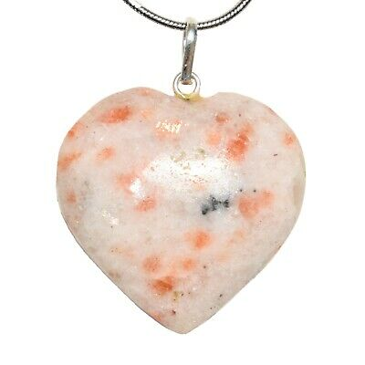 "CHARGED Himalayan Sunstone Heart Crystal Perfect Pendant™ + 20"" Chain WOW"