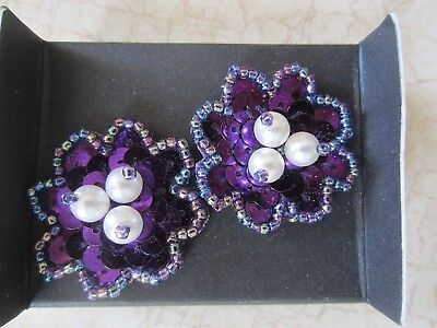 1993 Avon Floral Sequin Pierced Earrings With Surgical Steel Posts
