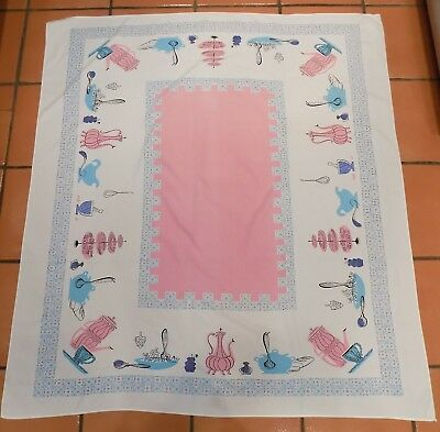"Vintage! Tablecloth Pink Blue Kitchen Design Salad Bowl Coffee Whisk 54"" x 58"""