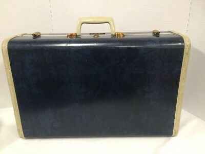 Vintage Samsonite Admiral Blue Marble Luggage Hard Case Suitcase Large