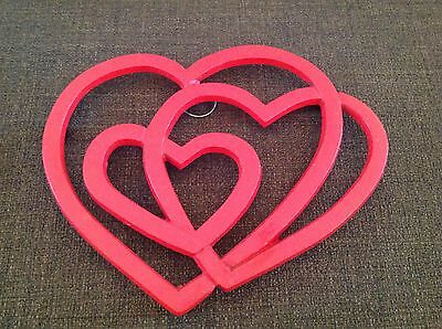 Vintage Red Enameled Cast Iron Trivet With Triple Heart Design Footed Or Wall