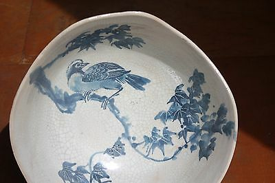 Occupied Japan Large Pottery Rare Signed Bird Bowl