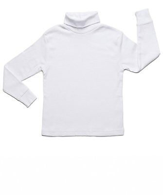 Leveret Boys Girls White Solid Turtleneck 100% Cotton (2 Toddler - 14 Years)