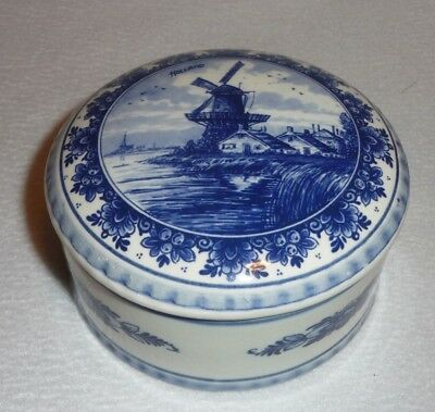 Delft Blue Delfino Hand Painted Jewelry Dish Trinket Dresser Box and Lid Holland