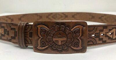 1970s SEARS Vintage Mens Tooled Leather Belt Western Style Hand Finished Size 38