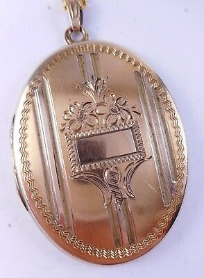 Antique Edwardian Art Deco Large Etched Gold Filled Locket Pendant Flowers