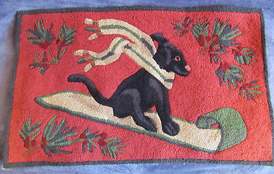 Gorgeous 20x33 Hand Hooked Wool Rug Black Lab Labrador Dog Christmas Holiday Exc