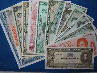 Lot of Mixed South America Countries Paper Money Sampler, Used & better Notes