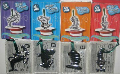 Dr. Seuss Cat In The Hat Silved Plated Classic Ornament Set - (4 Ornaments)