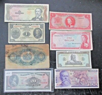 Lot of 8 Mexico & Caribbean Paper Money Notes Assorted