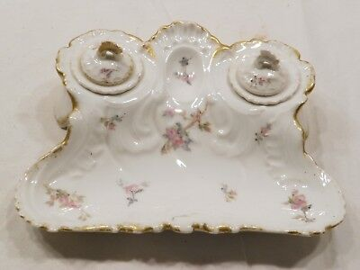 Vintage L R & L Limoges France Pink Rose Writing Tray With 2 Ink Wells