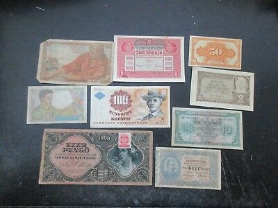 Lot of 9 Assorted Bank Notes from Europe, Used Circulated   Set #b