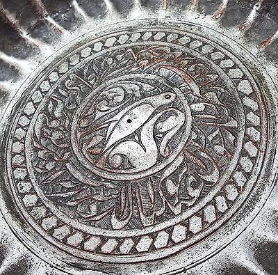 18th Century PERSIAN ISLAMIC Antique TINNED COPPER ENGRAVED DISH Bird