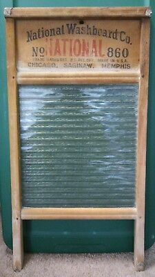 Vintage Antique National WASHBOARD Co The Glass King No 860 Wood Ribbed Glass