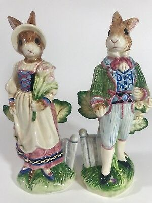 Fitz And Floyd Salt & Pepper Shakers Old World Rabbits Great for Easter!