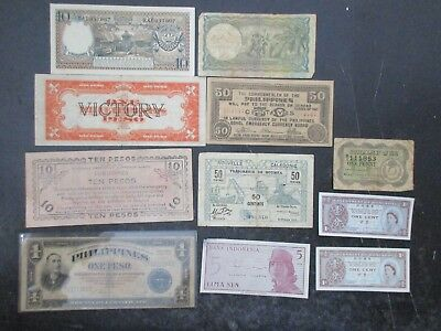 Lot of 11 Bank Notes from the Philippines and South Pacific Used as is