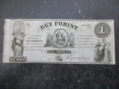 1853 Hungary Egy Forint Bank Note issued in New York,  Govt. in Exile Nice
