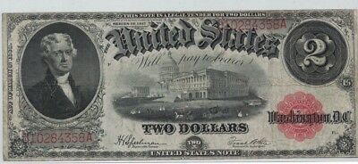 1917 Series ~ Two Dollar United States Note ~ $2 Speelman White Signatures VF