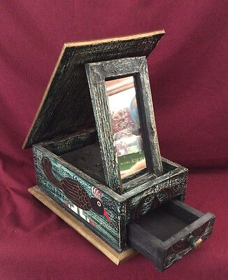 Hand Painted Folk Art Wood Jewelry Box w/Fold Out Mirror & Drawer Bird Design