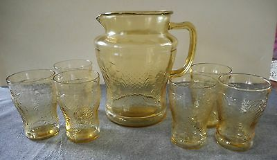 Vintage Federal Glass Amber Depression Normandie Water Pitcher & Tumblers 7 Pcs
