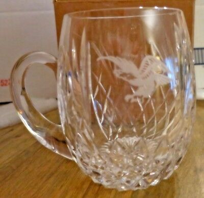 New Crystal Beer Tankard or Mug Flying Eagle Anheuser Busch possibly Waterford