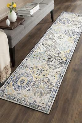 Hallway Runner Hall Runner Rug Modern Grey Blue 3 Metres Long Premium Edith 266