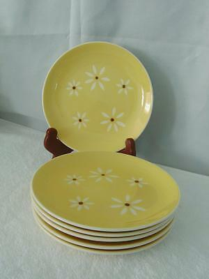 """Harker Yellow """"brown Eyed Susan"""" - Set Of 6 Bread & Butter Plates - Lovely!"""