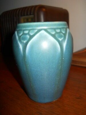 1918 Blue Matte Glaze Rookwood Cabinet Vase Excellent Condition Fine Pottery