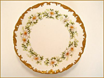 """Antique T&v  Limoges Porcelain Daisies/daisy Green Gold  Plate ~ 8.25"""""""