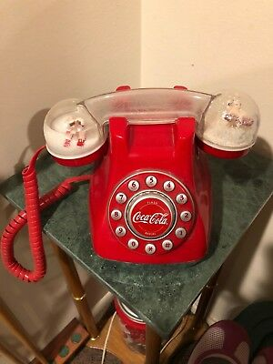 COCA COLA Telephone SNOW DOME PHONE Handset Push Button Working - Free S&H!