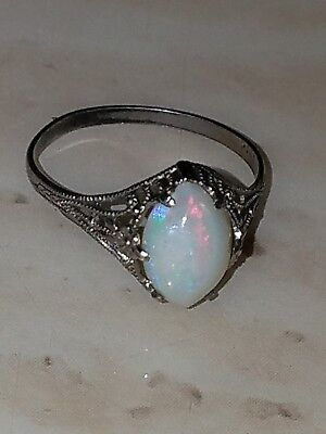 art deco vintage antique sterling opal filigree ring size 6.5