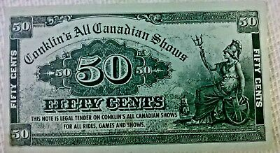 Old Conklin Shows All Canadian Fifty Cents Legal Tender Note Carnival Rides