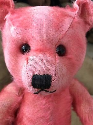 Antique Old Chiltern Pink Mohair Musical Teddy Bear Hugmee British Music Box