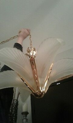 Vintage Art Deco Brass Frosted Glass Slip Shade Chandelier Hanging Light Fixture