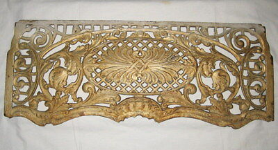 Antique Ornate Acanthus Leaf Cast Iron Fireplace Rear Grate Panel Mantel Cover