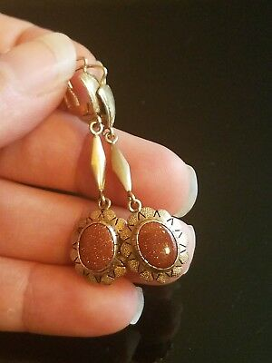 art deco antique VTG 14k goldstone earrings