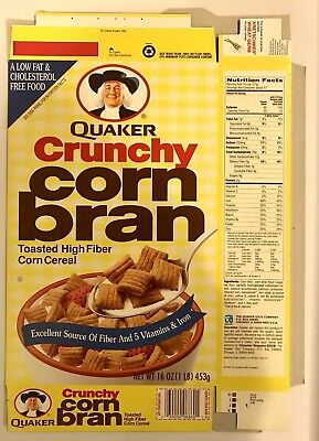 Vintage 1994 Quaker Oats Crunchy Corn Bran Cereal Box,Unused Flat