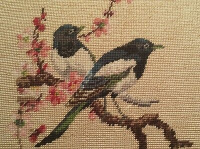 """Lovely Vintage Needlepoint Tapestry Pair of Birds 18""""x 10"""""""