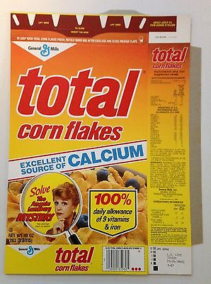 Vintage 1987 General Mills Total Corn Flakes Cereal Box,Angela Lansbury Mystery