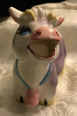 Vintage JAPAN Napco ? STOUT Purple Cow Pink Bell Udders CREAMER - Nice Cond