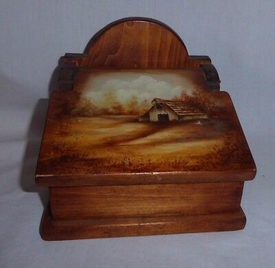 Vintage Old Wooden Trinket or Match Box Hinged Barn Painting Early American Art