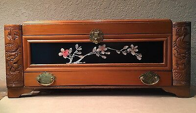 Vintage Large Carved WOODEN JEWELRY Box Chest ASIAN Chinese Japanese
