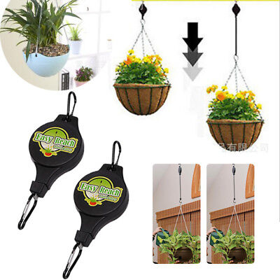 Retractable Pulley Hanging Basket Pull Down Hanger Plant Hook Easy Reach