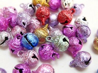 100 Glitter JINGLE BELLS~ Mixed Color Christmas Bells ~6mm Beads Charms